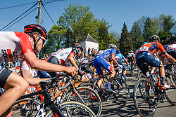 Peloton with MOLARD Rudy of Groupama - FDJ during 2nd lap on Mur de Huy at the 2018 La Flèche Wallonne race, Huy, Belgium, 18 April 2018, Photo by Thomas van Bracht / PelotonPhotos.com | All photos usage must carry mandatory copyright credit (Peloton Photos | Thomas van Bracht)