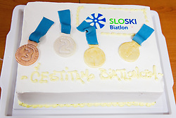 Cake during press conference of Slovenian Biathlon Team after medals at IBU Summer Biathlon World Championships in Tyumen (Russia) on August 26, 2014 in SZS, Ljubljana, Slovenia. Photo by Vid Ponikvar / Sportida