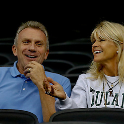 Sep 7, 2013; New Orleans, LA, USA; Former NFL quarterback Joe Montana with his wife Jennifer Montana watch their son Tulane Green Wave starting quarterback Nick Montana (not pictured) from the stands during a game against the South Alabama Jaguars at the Mercedes-Benz Superdome. Mandatory Credit: Derick E. Hingle-USA TODAY Sports