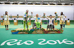 Second placed Francek Gorazd Tirsek - Nani of Slovenia, Winner Veselka Pevec of Slovenia and third placed Geunscoo Kim of Korea celebrate at medal ceremony after the Final of R4 - Mixed 10m Air Rifle Standing SH2 on day 3 during the Rio 2016 Summer Paralympics Games on September 10, 2016 in Olympic Shooting Centre, Rio de Janeiro, Brazil. Photo by Vid Ponikvar / Sportida