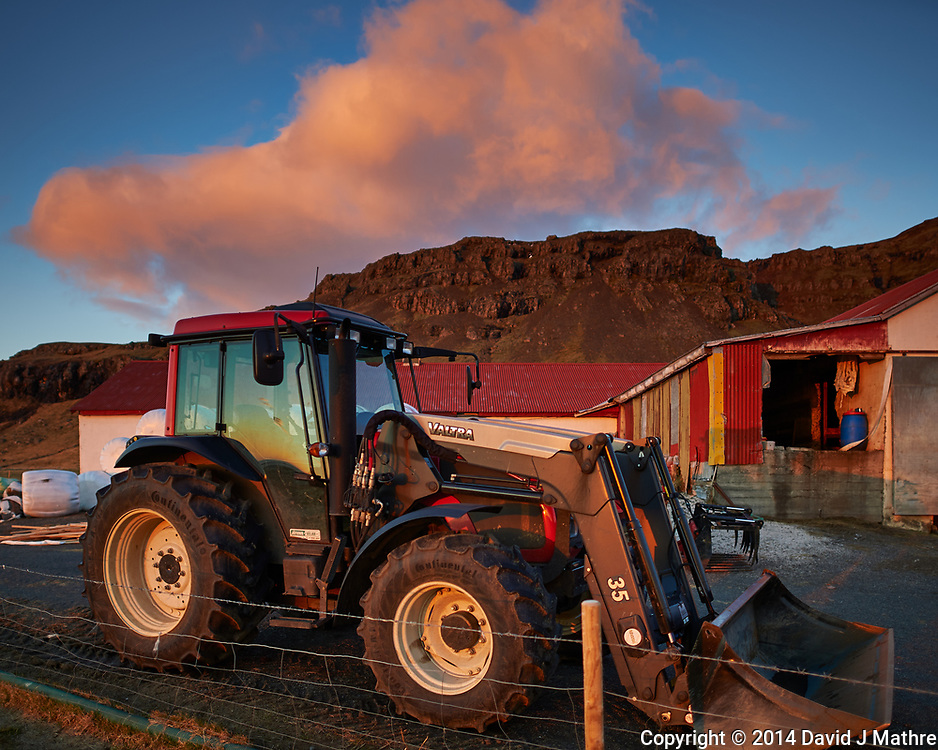 Early Morning View of a Valtra Tractor at the Smyrlabjorg Farm in Eastern Iceland. Image taken with a Nikon Df camera and 24 mm f/1.4G lens (ISO 100, 24 mm, f/1.4, 1/250 sec)