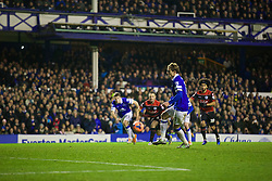 LIVERPOOL, ENGLAND - Saturday, January 4, 2014: Everton's Nikica Jelavic misses a penalty, and the chance of a hat-trick, during the FA Cup 3rd Round match against Queens Park Rangers at Goodison Park. (Pic by David Rawcliffe/Propaganda)