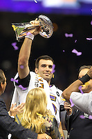 3 February 2013: Quarterback (5) Joe Flacco of the Baltimore Ravens celebrates and holds up the Vince Lombardi trophy after defeating the San Francisco 49ers in Superbowl XLVII at the Mercedes-Benz Superdome in New Orleans, LA.