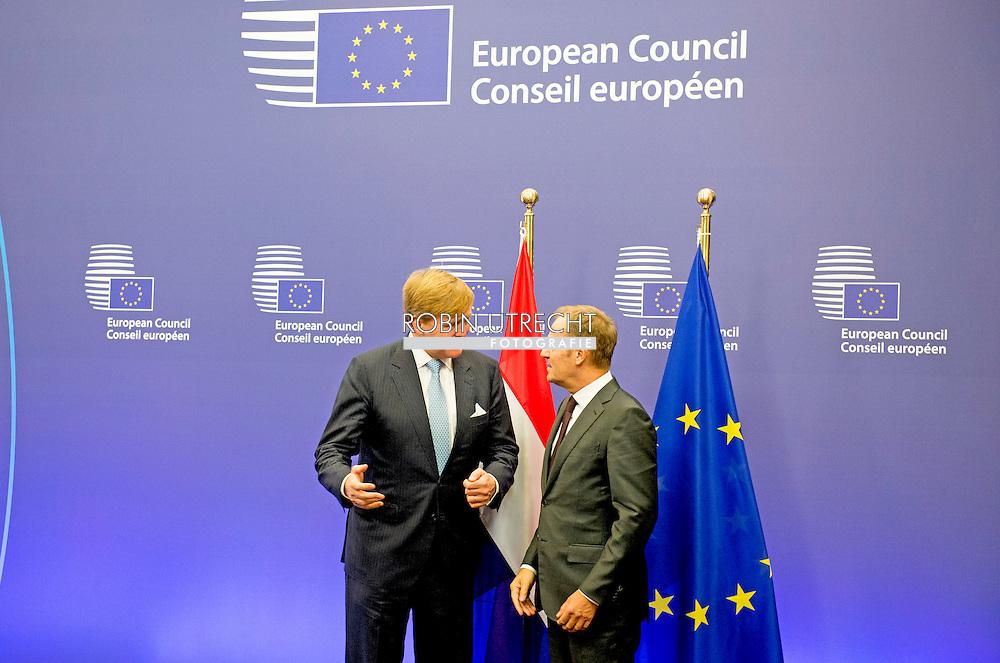 3-11-2015 BRUSSELS - King Willem Alexander  meets Donald Tusk<br /> Voorzitter van de Europese Raad  King Willem Alexander visit the European Union in Brussels . COPYRIGHT ROBIN UTRECHT