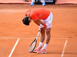 ROME, May 20, 2019  Novak Djokovic of Serbia reacts during the men's singles final match against Rafael Nadal of Spain at the Italian Open Tennis tournament in Rome, Italy, May 19, 2019. Novak Djokovic lost 1-2. (Credit Image: © Alberto Lingria/Xinhua via ZUMA Wire)