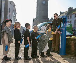 Youngsters paid tribute to one of Dumfries&rsquo; most celebrated former residents when they unveiled a new water refill tap in the town.<br /> <br /> The high tech Top Up Tap has been installed by Scottish Water as part of its national initiative to encourage people to carry a reusable bottle and stay hydrated on the go. <br /> <br /> Pictured: Primary 2 pupils from Noblehill Primary School who donned 18th century outfits and recited some poems by Robert Burns with MSP Oliver Mundell.