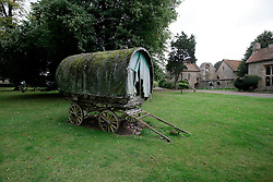 UK ENGLAND THAME 27AUG14 - A gypsy wagon, bought as a wedding present for  Dwina Gibb, widow of Bee Gee Robin Gibb is displayed in the grounds of the Bee Gee's home in Thame, Oxfordshire.<br /> <br /> jre/Photo by Jiri Rezac<br /> <br /> © Jiri Rezac 2014