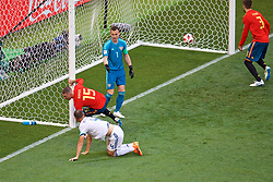 MOSCOW, RUSSIA - Sunday, July 1, 2018: Spain's Sergio Ramos celebrates as if he scored the first goal, which was an own-goal from Russia's Sergey Ignashevich, during the FIFA World Cup Russia 2018 Round of 16 match between Spain and Russia at the Luzhniki Stadium. (Pic by David Rawcliffe/Propaganda)