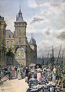 Flower market by the Palais de Justice, Ile de la Cite, Paris. From 'Le Petit Journal', Paris, 15 April 1893. France, Commerce, Trade