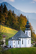 Wallfahrtskirche Maria Gern, traditional onion dome Roman Catholic church by Watzmann mountain at Berchtesgaden in Bavaria, Germany
