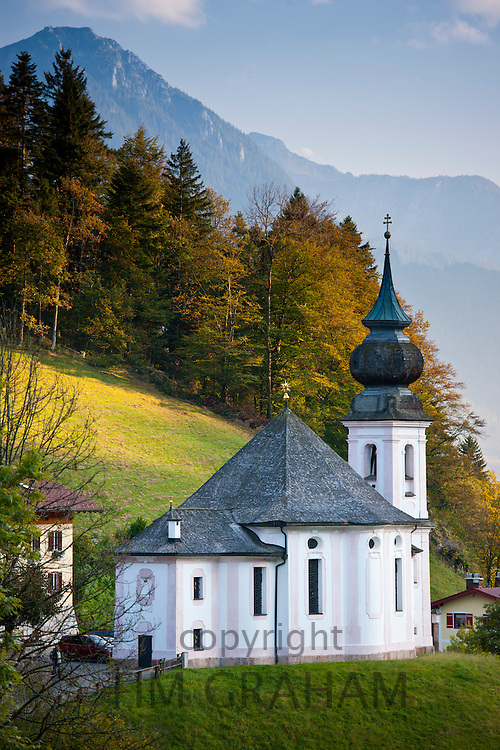 Wallfahrtskirche Maria Gern, traditional onion dome Roman Catholic church by Watzmann mountain at Berchtesgaden in Bavaria, Germany