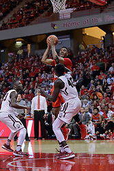 22 February 2017:  DJ Clayton(2) seemingly ignores Thik Bol as he looks for a pair of points during a College MVC (Missouri Valley conference) mens basketball game between the Southern Illinois Salukis and Illinois State Redbirds in  Redbird Arena, Normal IL