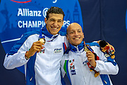Simone Barlaam  of Italy (left) and and compatriot  Federico Morlacchi of Italy with their Gold Medals after a split time in the Men's 100 m Butterfly S9 during the World Para Swimming Championships 2019 Day 3 held at London Aquatics Centre, London, United Kingdom on 11 September 2019.
