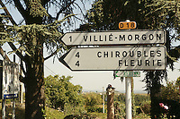 road signs to Beaujolais applelation towns..September 15, 2007..Photo by Owen Franken for the NY Times.