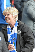 Happy Wigan fan after her side wins 4-1 in the Sky Bet League 1 match between Wigan Athletic and Southend United at the DW Stadium, Wigan, England on 23 April 2016. Photo by John Marfleet.