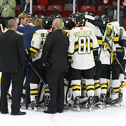 TRENTON, ON  - MAY 5,  2017: Canadian Junior Hockey League, Central Canadian Jr. &quot;A&quot; Championship. The Dudley Hewitt Cup Game 7 between Georgetown Raiders and the Powassan Voodoos.   Powassan Voodoos players and coaches gather post game.<br /> (Photo by Alex D'Addese / OJHL Images)