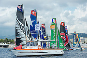 Race Start.  Day four of the Extreme Sailing Series Regatta at Nice. 5/10/2014