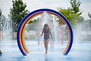 Children play in the splash pad at the Mastercraft Throwdown at Millennium Park in Grand Rapids, MI. ©Brett Wilhelm/ESPN