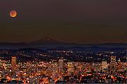 Supermoon Lunar  Eclipse over Mount Hood and the Portland skyline.