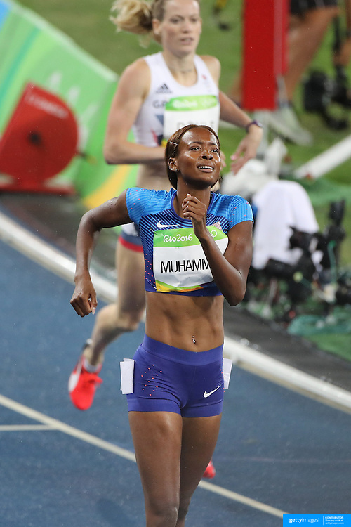 Athletics - Olympics: Day 13  Dalilah Muhammad of the United States winning the gold medal in the Women's 400m Hurdles at the Olympic Stadium on August 18, 2016 in Rio de Janeiro, Brazil. (Photo by Tim Clayton/Corbis via Getty Images)