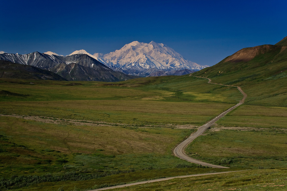 Thorofare Pass, Denali, and the Park Road viewed from the Stony Hill Overlook, Denali National Park, AK