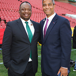 Xola Ntshinga Supersport rugby commentator with Jeremy Guscott rugby commentator during the 2018 Castle Lager Incoming Series 1st Test match between South Africa and England at Emirates Airline Park,<br /> Johannesburg.South Africa. 09,06,2018 Photo by (Steve Haag Sports)