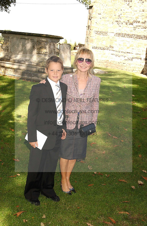 Singer LULU and her nephew JEREMY at the wedding of musician Jools Holland to Lady Crystabel Durham held at Cooling Village Church, Cooling, Kent on 30th August 2005.<br />