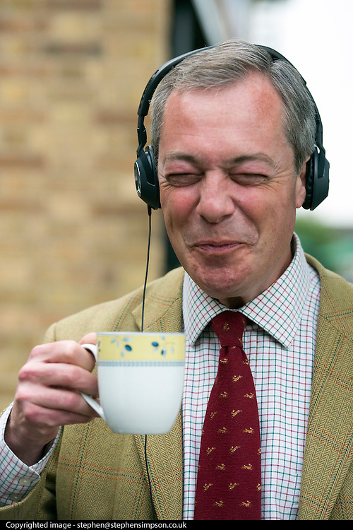 © Licensed to London News Pictures. 29/04/2014. Slough, UK. Nigel Farage drinks tea whilst waiting to take part in a live radio interview.  NIGEL FARAGE leader of UKIP in Slough today 29 April 2014 to congratulate local activists on more than doubling the candidates the party will field in local elections. Photo credit : Stephen Simpson/LNP