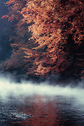 Rising fog over river Wupper on a fall morning<br />