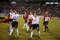 United States midfielder Landon Donovan (10), United States defender Carlos Bocanegra (3) and teammates prepare for the start of a game.  The United States men's soccer team defeated the Mexican national team 2-0 in CONCACAF final group qualifying for the 2010 World Cup at Columbus Crew Stadium in Columbus, Ohio on February 11, 2009.