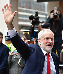 """Labour leader Jeremy Corbyn arrives at Labour Party HQ in Westminster, London, after he called on the Prime Minister to resign, saying she should """"go and make way for a government that is truly representative of this country""""."""