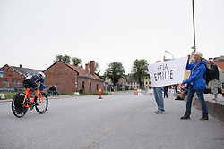 Emilie Moberg (NOR) of Hitec Products Cycling Team rides past her supporters during the prologue of the Ladies Tour of Norway - a 3.4 km time trial, starting and finishing in Halden on August 17, 2017, in Ostfold, Norway. (Photo by Balint Hamvas/Velofocus.com)