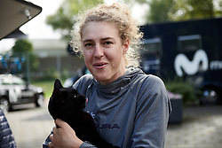 Lizzy Banks (GBR) makes a new friend at Boels Ladies Tour 2019 - Stage 2, a 113.7 km road race starting and finishing in Gennep, Netherlands on September 5, 2019. Photo by Sean Robinson/velofocus.com