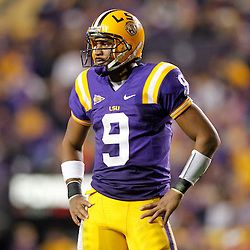 November 12, 2011; Baton Rouge, LA, USA;  LSU Tigers quarterback Jordan Jefferson (9) against the Western Kentucky Hilltoppers during the second half of a game at Tiger Stadium. LSU defeated Western Kentucky 42-9. Mandatory Credit: Derick E. Hingle-US PRESSWIRE