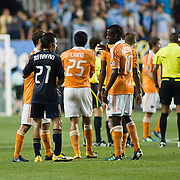 Union Midfielder Michael Farfan #21(left) shakes hands with Dynamo players at midfield after Saturday MLS regular season match between The Philadelphia Union and The Houston Dynamo. The Dynamo and The Philadelphia Union played to a 1-1 tie Saturday Aug. 6, 2011, at PPL Park in Chester PA. The News Journal/SAQUAN STIMPSON