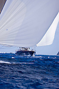 Salute sailing in the 2010 St. Barth's Bucket superyacht regatta, race 1.