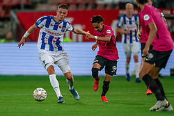"Joey Veerman #20 of Heerenveen, Othman Boussaid #26 of Utrecht in action. FC Utrecht convincingly won the practice match against sc Heerenveen. The ""Domstedelingen"" were too strong for SC Heerenveen in Stadium Galgenwaard with 4-1<br /> on August 20, 2020 in Utrecht, Netherlands"