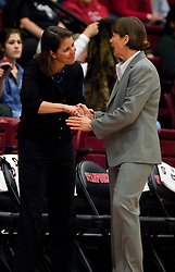December 15, 2009; Stanford, CA, USA;  Duke Blue Devils head coach Joanne McCallie (left) and Stanford Cardinal Cardinal head coach Tara VanDerveer  (right) before the game at Maples Pavilion.