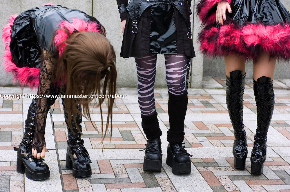 Young girls dressed in cosplay outfits at Harajuku in Tokyo
