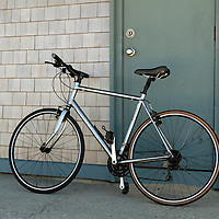 A bicycle at a rest area near Raceway Point, Cape Cod, Massachusetts, USA.