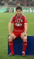 Athens, Greece - Wednesday, May 23, 2007: Liverpool's Xabi Alonso looks dejected after losing 2-1 to AC Milan during the UEFA Champions League Final at the OACA Spyro Louis Olympic Stadium. (Pic by Jason Roberts/Propaganda)