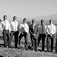 Travis and his groomsmen during their portrait session after his Vancouver Island wedding.