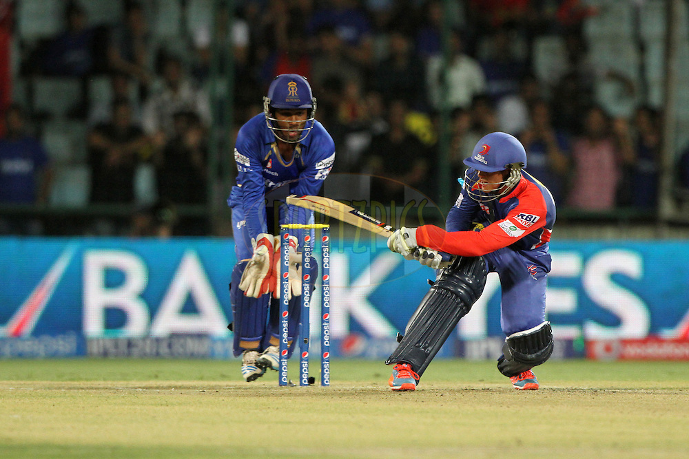 Quinton de Kock of the Delhi Daredevils during match 23 of the Pepsi Indian Premier League Season 2014 between the Delhi Daredevils and the Rajasthan Royals held at the Feroze Shah Kotla cricket stadium, Delhi, India on the 3rd May  2014<br /> <br /> Photo by Deepak Malik / IPL / SPORTZPICS<br /> <br /> <br /> <br /> Image use subject to terms and conditions which can be found here:  http://sportzpics.photoshelter.com/gallery/Pepsi-IPL-Image-terms-and-conditions/G00004VW1IVJ.gB0/C0000TScjhBM6ikg
