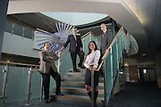 Russ College of Engineering Professors Gerri Botte, Robert Judd, Shad Sargand, and Frank van Graas in the atrium of the Advanced Research Cetner (ARC) Building.