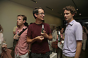 ALEX FROST, RICHARD HUGHES AND PETER DAVIES, Gimpel Fils 60th Anniversary Exhibition. Davies St. London. 27 July 2006. ONE TIME USE ONLY - DO NOT ARCHIVE  © Copyright Photograph by Dafydd Jones 66 Stockwell Park Rd. London SW9 0DA Tel 020 7733 0108 www.dafjones.com