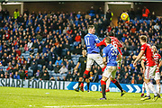 Kyle Lafferty of Rangers heads over the bar from close range during the Ladbrokes Scottish Premiership match between Rangers and Hamilton Academical FC at Ibrox, Glasgow, Scotland on 16 December 2018.