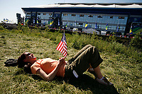 Photo: Steve Bond.<br /> USA v Czech Republic. Group E, FIFA World Cup 2006. 12/06/2006.<br /> USA fan enjoys the sun outside Gelsenkirchen Stadium.