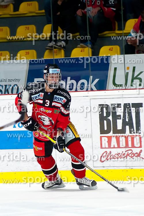 13.10.2015, Ice Rink, Znojmo, CZE, EBEL, HC Orli Znojmo vs HC TWK Innsbruck Die Haie, 11. Runde, im Bild Petr Kousalik (HC Orli Znojmo) // during the Erste Bank Icehockey League 11th round match between HC Orli Znojmo and HC TWK Innsbruck Die Haie at the Ice Rink in Znojmo, Czech Republic on 2015/10/13. EXPA Pictures © 2015, PhotoCredit: EXPA/ Rostislav Pfeffer