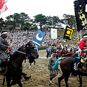 "MINAMISOMA, JAPAN - JULY 24 :  A samurai horsemen is seen in the track after participating in the Kacchu-keiba (armed horse race) during the Soma Nomaoi festival at Hibarigahara field on Sunday, July 24, 2016 in Minamisoma, Japan. ""Soma-Nomaoi"" is a traditional festival that recreates a samurai battle scene from more than 1,000 years ago. (Photo: Richard Atrero de Guzman/NURPhoto)"