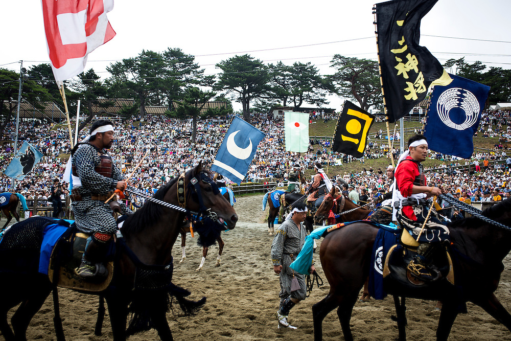 """MINAMISOMA, JAPAN - JULY 24 :  A samurai horsemen is seen in the track after participating in the Kacchu-keiba (armed horse race) during the Soma Nomaoi festival at Hibarigahara field on Sunday, July 24, 2016 in Minamisoma, Japan. """"Soma-Nomaoi"""" is a traditional festival that recreates a samurai battle scene from more than 1,000 years ago. (Photo: Richard Atrero de Guzman/NURPhoto)"""